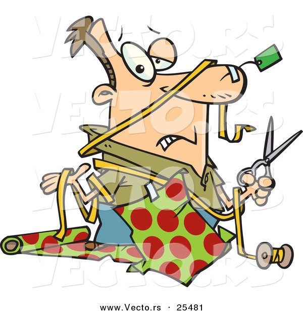 Cartoon Vector of a Clueless Man Trying to Wrap Christmas Gifts