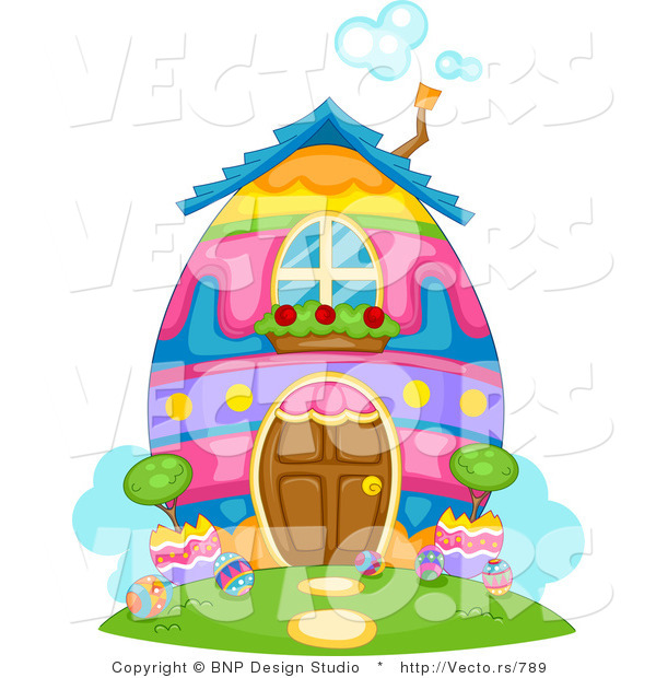 Cartoon Vector of a Colorful Easter Egg House