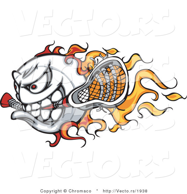 Cartoon Vector of a Competitive Flaming Lacrosse Ball Mascot Speeding Forward