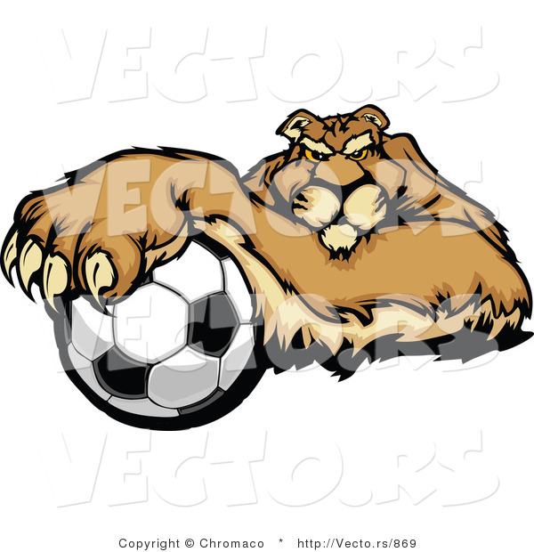 Cartoon Vector of a Competitive Puma Mascot Gripping Soccer Ball with Paw