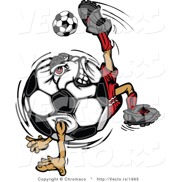 : Cartoon Vector of a Competitive Soccer Ball Mascot Performing Technical Kick Back Trick