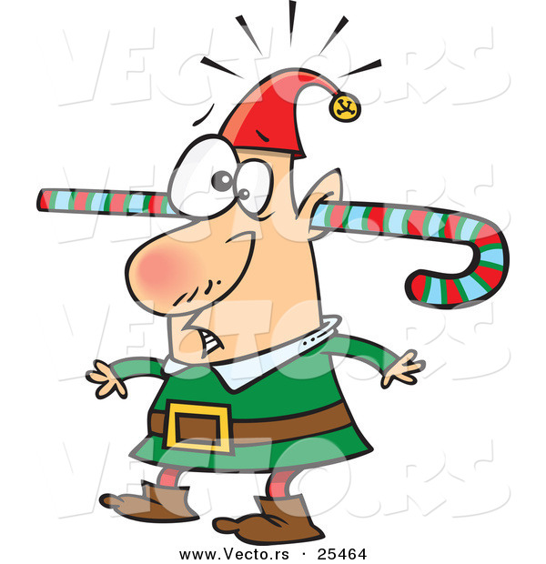 Cartoon Vector of a Confused Elf with Candy Cane Through One Ear and out the Other