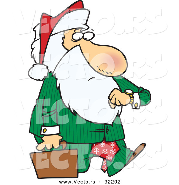 Cartoon Vector of a Corporate Santa Checking Time While Carrying Briefcase