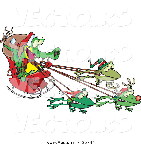 Cartoon Vector of a Crocodile Santa with Frog Reindeer Pulling His Sleigh