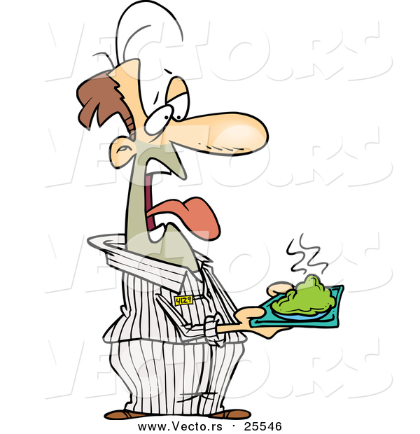 Cartoon Vector of a Disgusted Male Prisoner Holding a Plate of Green Food