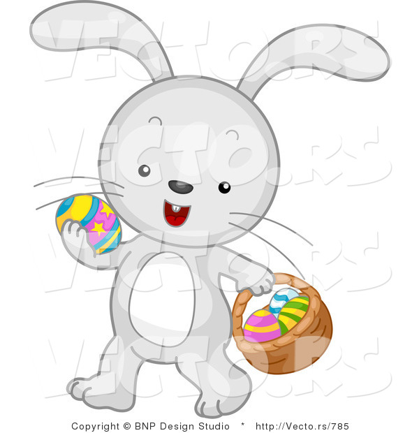 Cartoon Vector of a Easter Bunny Carrying Eggs and Basket