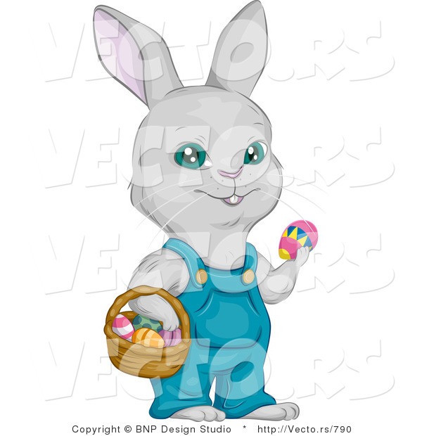 Cartoon Vector of a Easter Bunny with Basket Full of Eggs