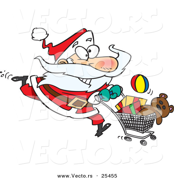 Cartoon Vector of a Energetic Santa Running with a Shopping Cart Full of Toys for Christmas Gifts