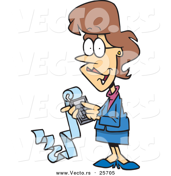 Cartoon Vector of a Female Accountant Holding a Calculator with a Long Strip of Paper