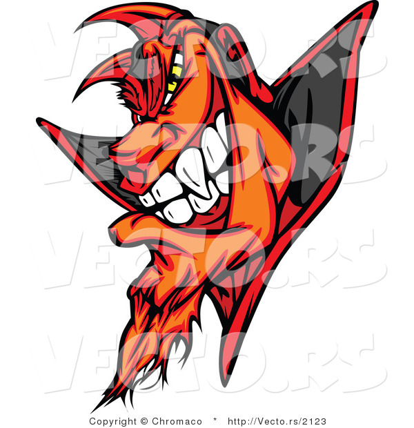 : Cartoon Vector of a Fiery Cartoon Devil Grinning with Evil Yellow Eyes