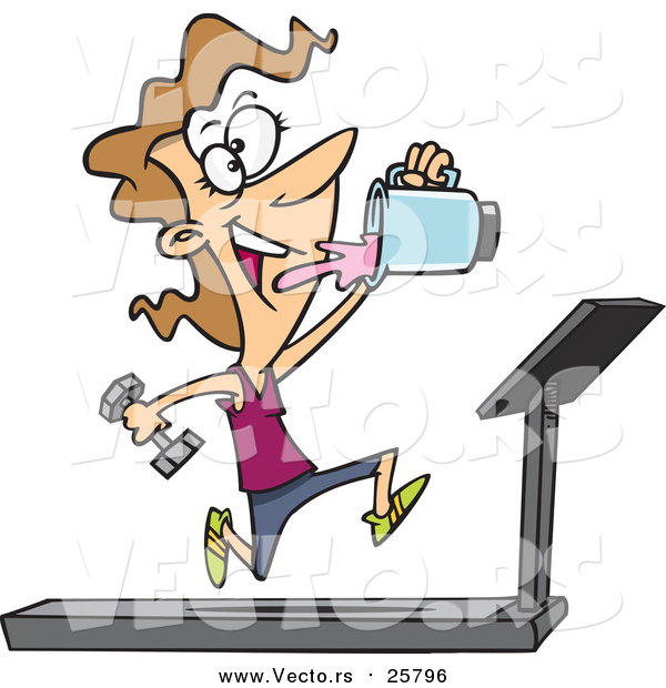 Cartoon Vector of a Fit Woman Running on a Treadmill and Drinking Juice from a Blender