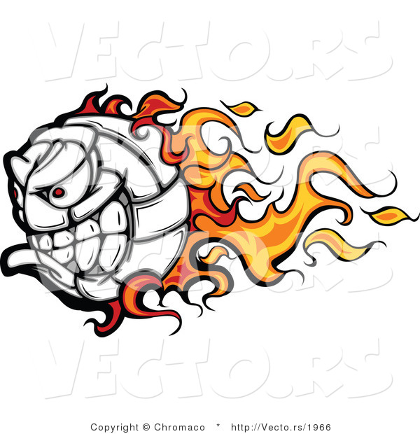 Cartoon Vector of a Flaming Volleyball Ball Mascot with an Evil Competitive Grin