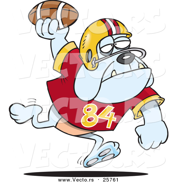 Cartoon Vector of a Football Bulldog Throwing the Ball