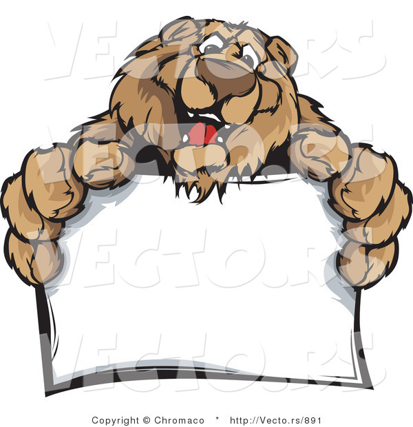 : Cartoon Vector of a Friendly Bear Mascot Holding Blank Sign