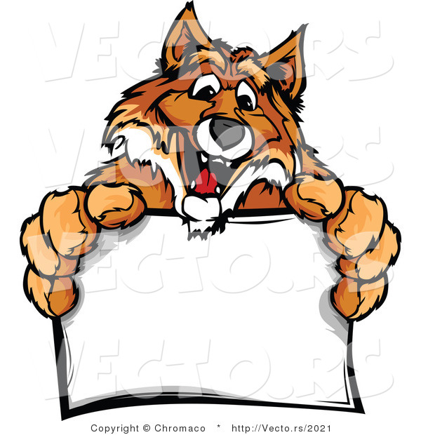 Cartoon Vector of a Friendly Cartoon Fox Mascot Holding a Blank Sign