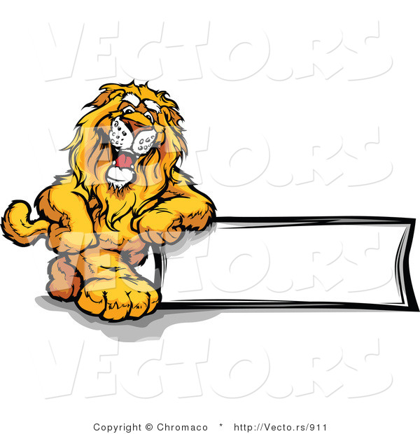 Cartoon Vector of a Friendly Lion Mascot Leaning on Blank Sign