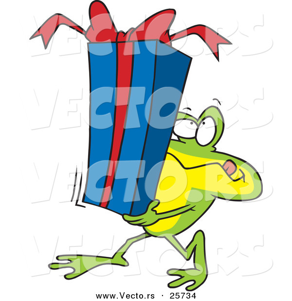 Cartoon Vector of a Frog Carrying Present