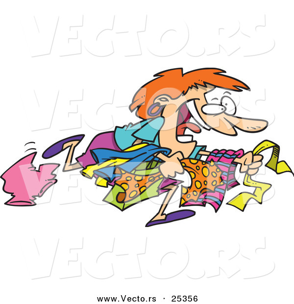 Cartoon Vector of a Girl Running to Get the Best Bargains While Christmas Shopping