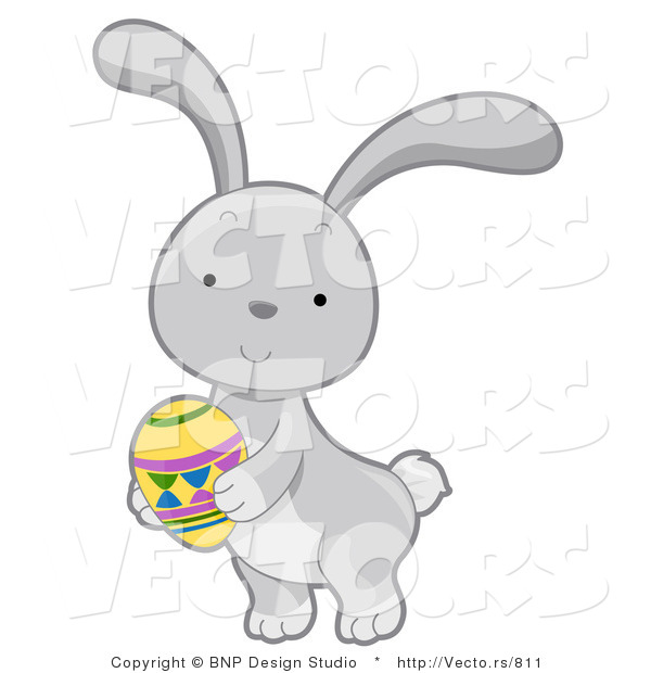 Cartoon Vector of a Gray Rabbit with Easter Egg