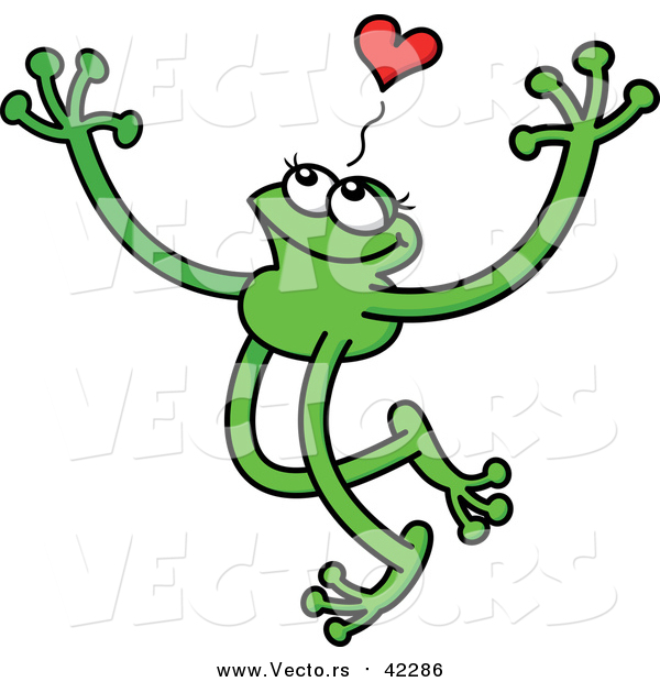 Cartoon Vector of a Green Grinning Love Frog with Long Arms and Legs