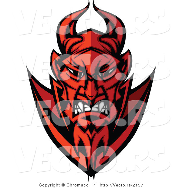 Cartoon Vector of a Grinning Cartoon Devil Staring with Intimidating Red Eyes