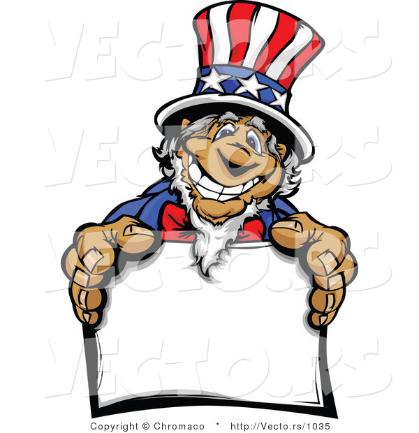 Cartoon Vector of a Grinning Cartoon Uncle Sam Holding Blank Sign