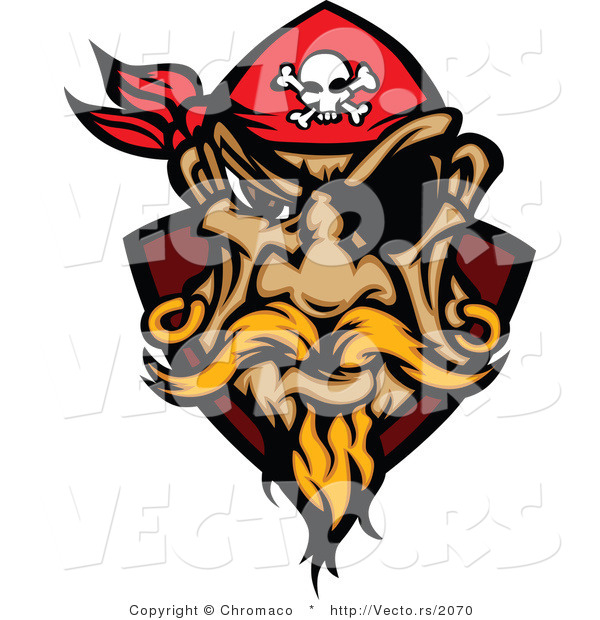 Cartoon Vector of a Grinning Pirate Wearing Red Bandana, Eye Patch, and Gold Earrings