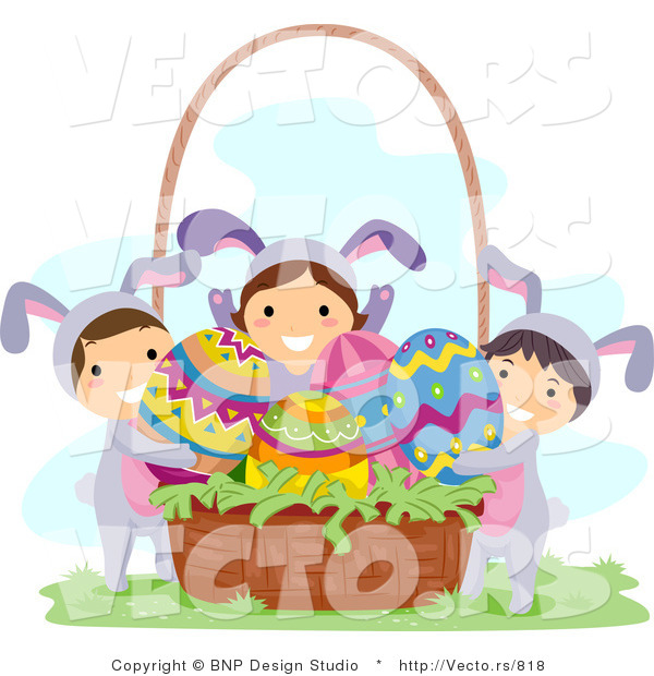 Cartoon Vector of a Group of Kids Putting Eggs in a Basket