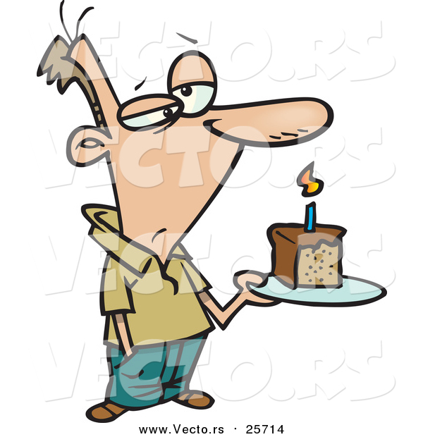 Cartoon Vector of a Grumpy Birthday Man Holding a Slice of Cake