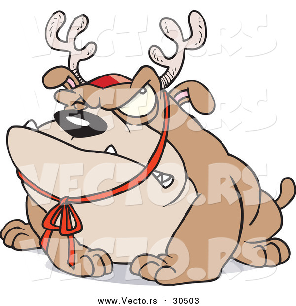 Cartoon Vector of a Grumpy Bulldog Wearing Reindeer Antlers