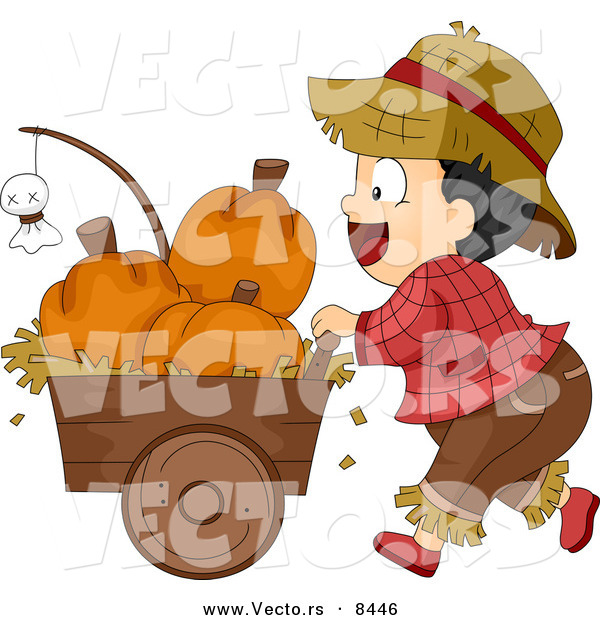 Cartoon Vector of a Halloween Farmer Boy Pusking a Cart Full of Pumpkins