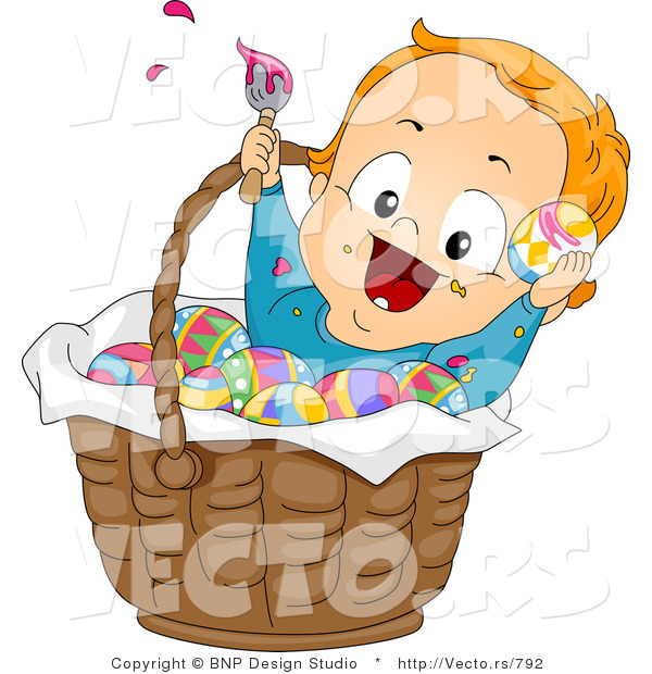 Cartoon Vector of a Happy Baby Boy Painting Easter Eggs in a Basket
