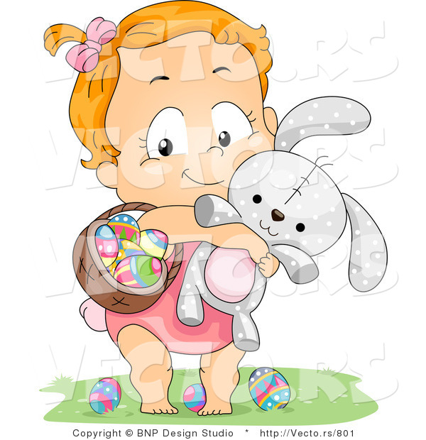Cartoon Vector of a Happy Baby Girl Carrying a Basket of Eggs and a Rabbit
