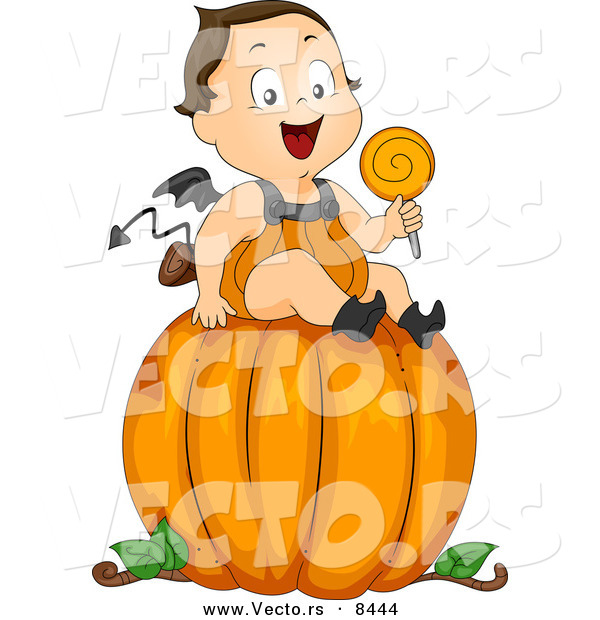 Cartoon Vector of a Happy Baby Halloween Devil Boy Sitting on a Large Pumpkin