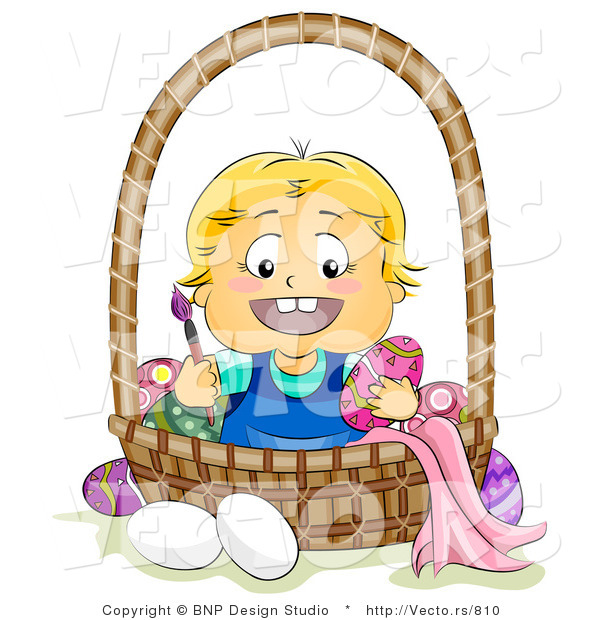 Cartoon Vector of a Happy Baby Painting Easter Eggs in a Basket