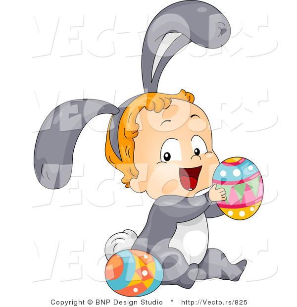 Cartoon Vector of a Happy Baby Wearing Bunny Costume While Playing with Easter Eggs