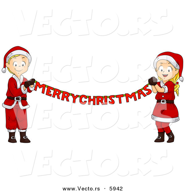 Cartoon Vector of a Happy Boy and Girl Holding out a Merry Christmas Banner
