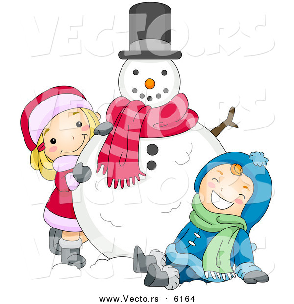 Cartoon Vector of a Happy Boy and Girl Playing with Christmas Snowman