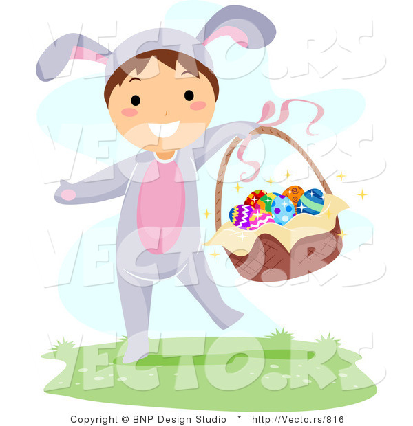 Cartoon Vector of a Happy Boy Carrying Easter Basket Full of Eggs