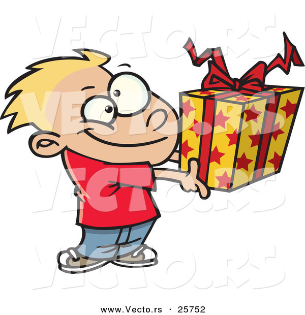Cartoon Vector of a Happy Boy Holding Present