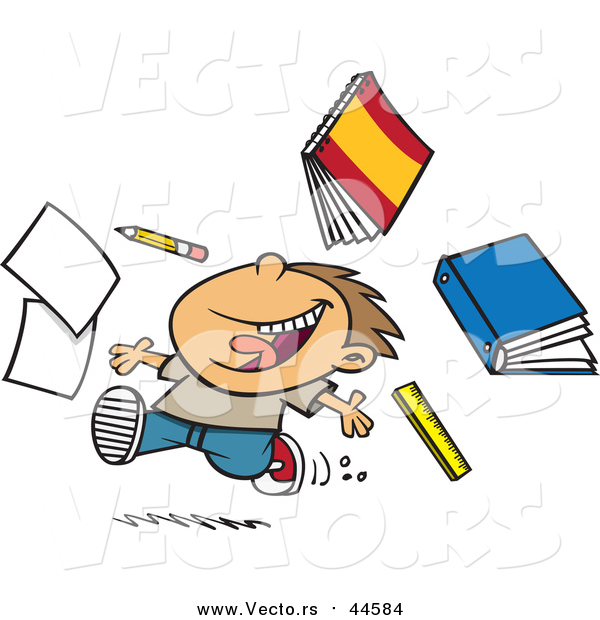 Cartoon Vector of a Happy Boy Tossing School Supplies While Running