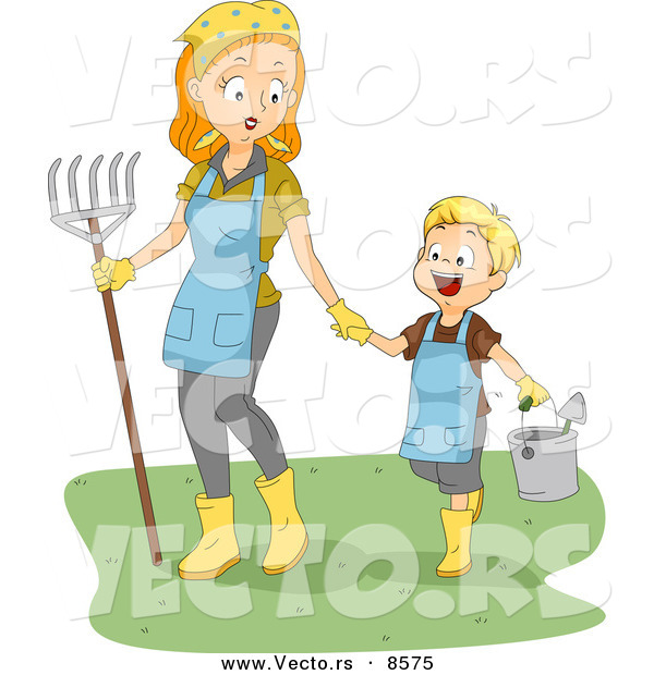 Cartoon Vector of a Happy Boy Walking with His Mom While Carrying Garden Tools