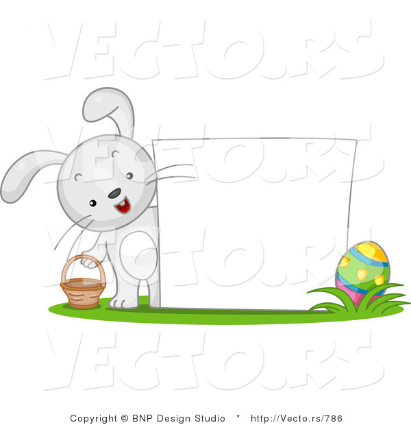 Cartoon Vector of a Happy Bunny Beside Blank Easter Sign