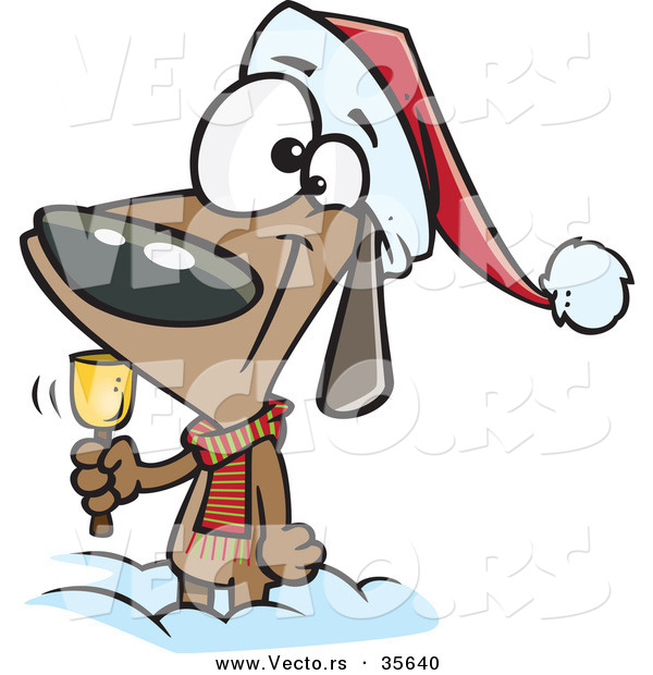 Cartoon Vector of a Happy Christmas Dog Ringing a Bell for Donations