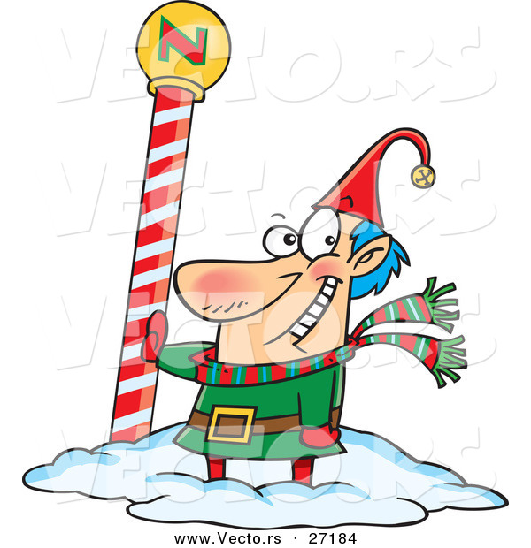 Cartoon Vector of a Happy Christmas Elf Beside the North Pole