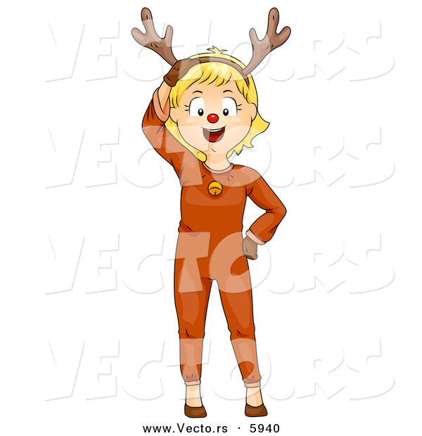 Cartoon Vector of a Happy Christmas Girl Wearing a Reindeer Costume