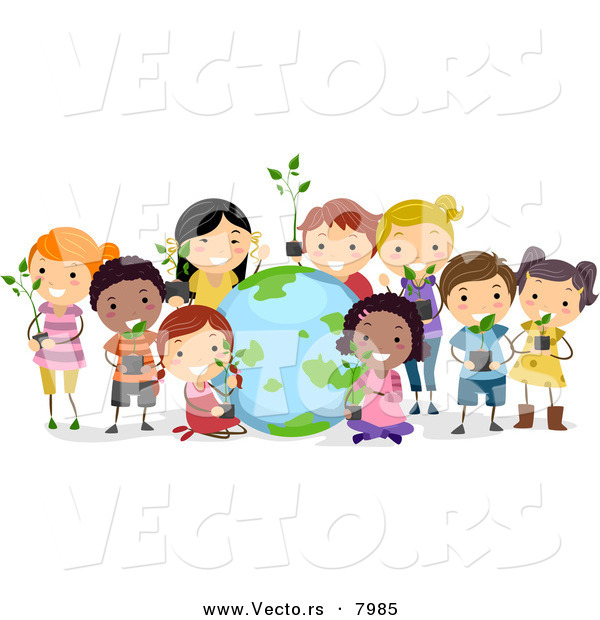 cartoon vector of a happy diverse students holding potted