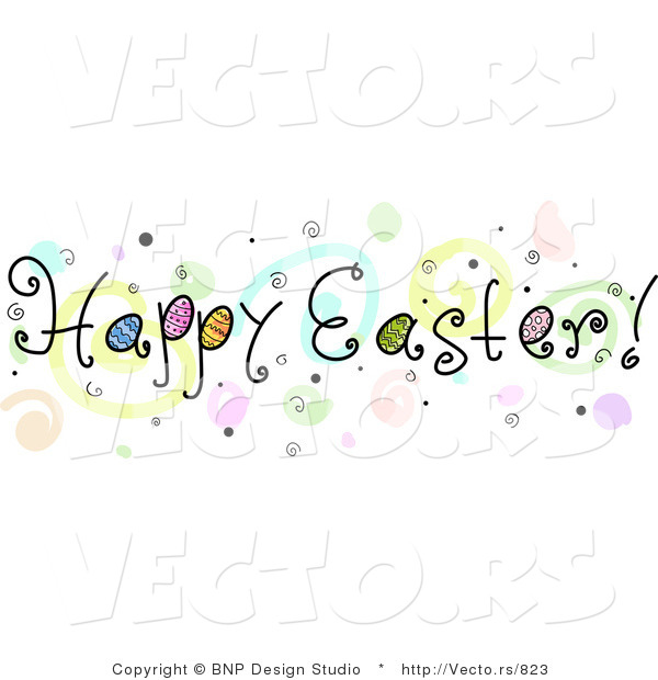 Cartoon Vector of a Happy Easter Banner