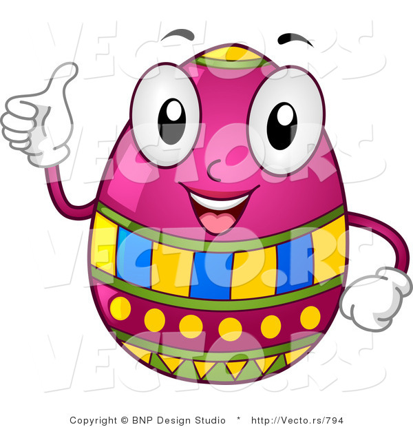 Cartoon Vector of a Happy Easter Egg Character Holding a Thumb up