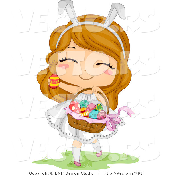 Cartoon Vector of a Happy Easter Girl Carrying Basket Full of Eggs